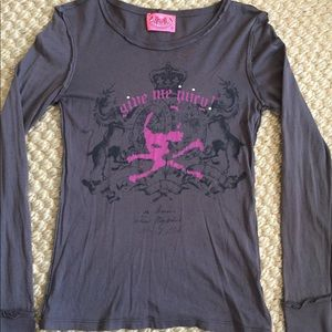 Juicy Couture Brown Graphic Top Never Worn Small